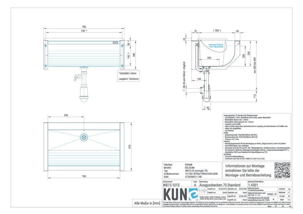Eine detaillierte Maßzeichnung vom KUNe SOLIDUM Ausgussbecken aus Edelstahl mit 70 cm Innenbreite