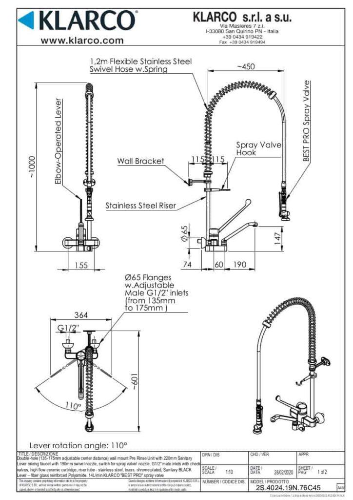 Eine detaillierte Maßzeichnung der Klarco Armatur mit Brause zur Wandmontage