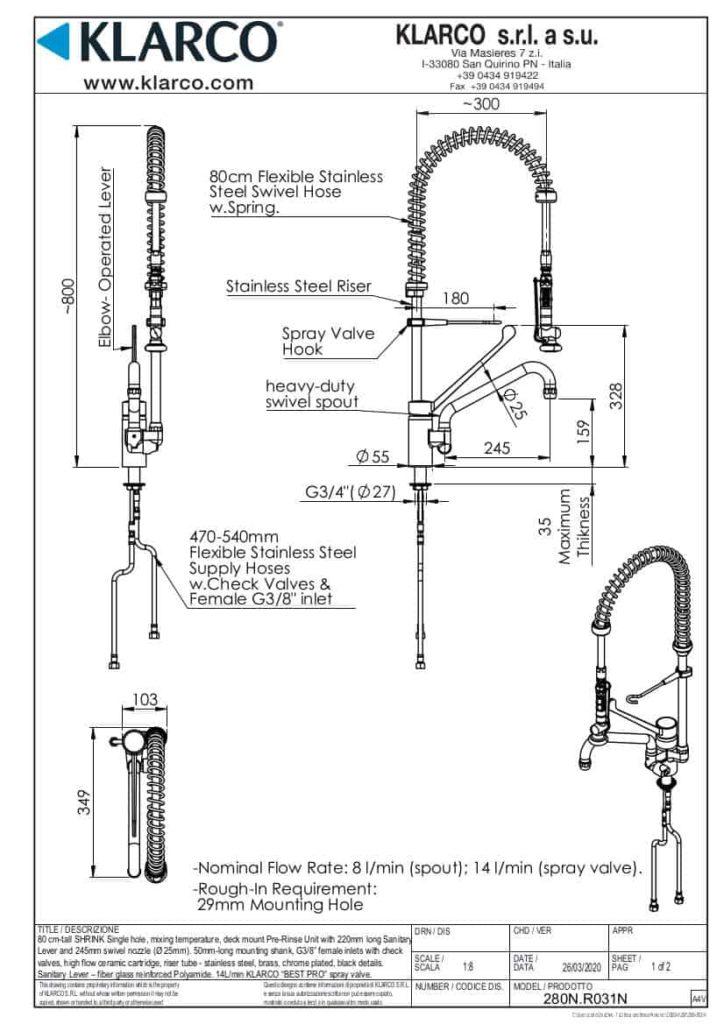 Eine detaillierte Maßzeichnung der Klarco Armatur mit Brause für die Beckenmontage