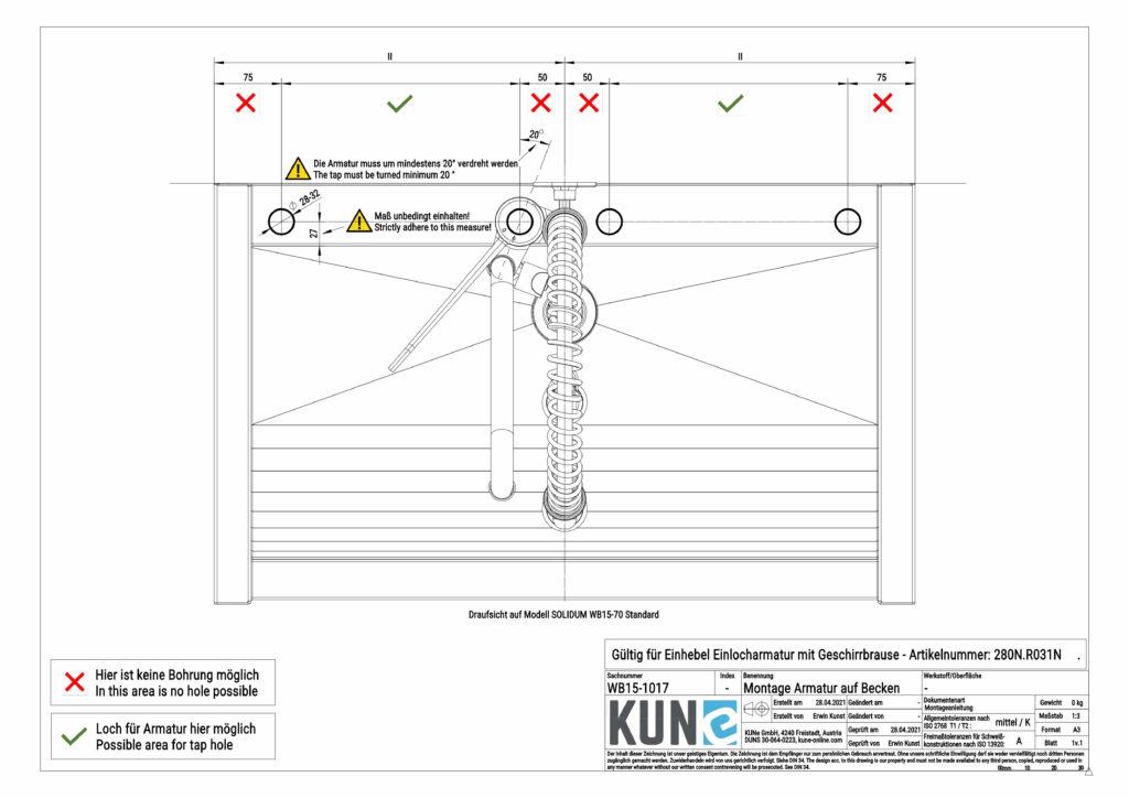 Zeigt die Montageinfos für die Klarco Armatur mit Brause zur Beckenmontage und wo Sie die Armatur am besten montieren sollten.