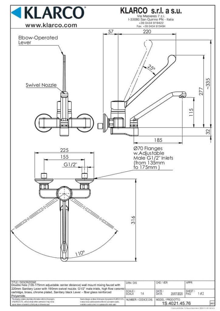 Eine detaillierte Maßzeichnung der Klarco Wandarmatur mit Ellbogen Hebel