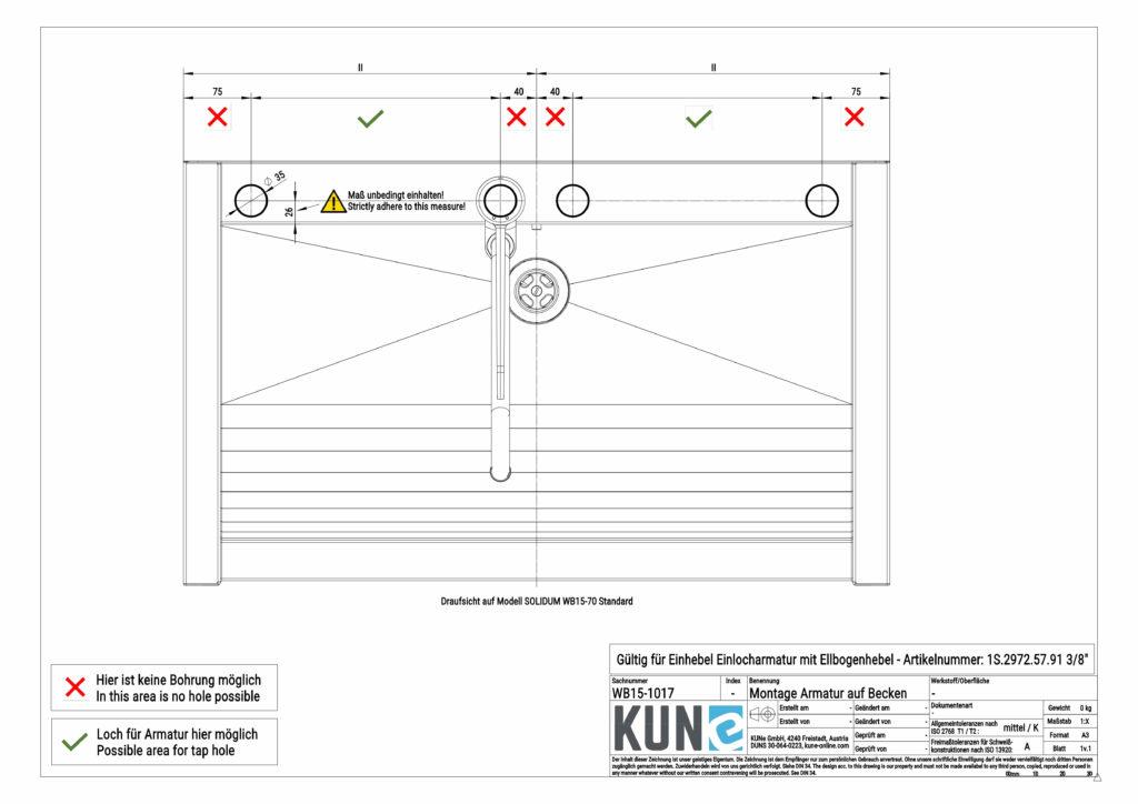 Zeigt die Montageinfos für die Klarco Einhebel Armatur zur Beckenmontage
