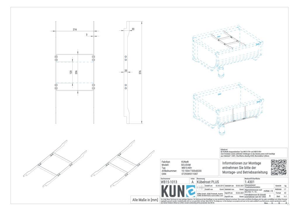 Eine detaillierte Maßzeichnung vom KUNe Kübelrost Plus