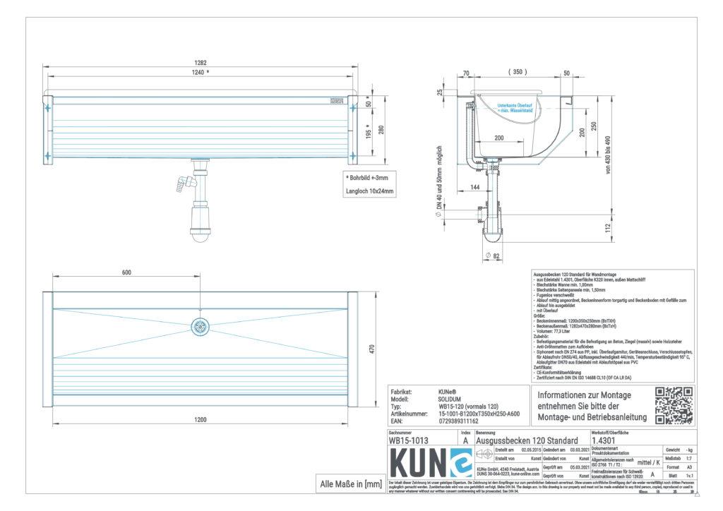 Eine detaillierte Masszeichnung vom KUNe SOLIDUM 120 Ausgussbecken aus Edelstahl