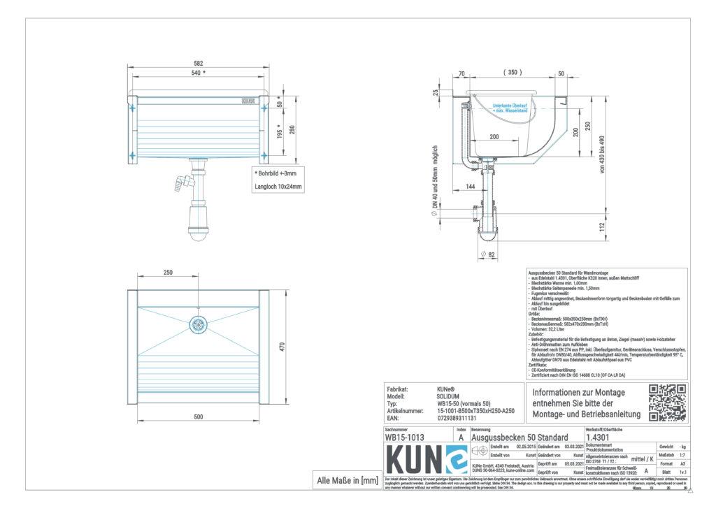 Eine detaillierte Maßzeichnung vom KUNe SOLIDUM Ausgussbecken aus Edelstahl mit 50 cm Innenbreite