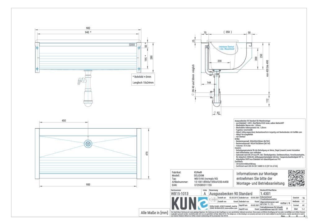 Eine detaillierte Maßzeichnung vom KUNe SOLIDUM Ausgussbecken aus Edelstahl mit 90 cm Innenbreite