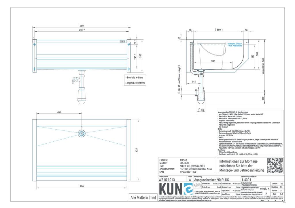 Eine detaillierte Masszeichnung vom KUNe SOLIDUM 90 Plus Ausgussbecken aus Edelstahl