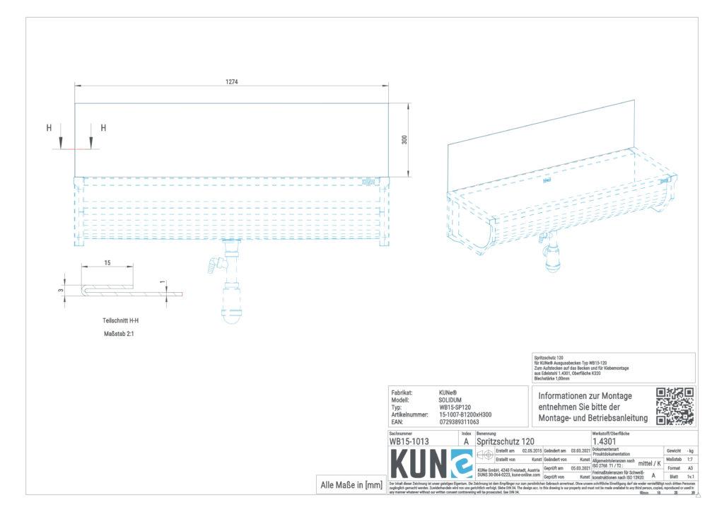 Eine detaillierte Maßzeichnung vom KUNe Spritzschutz 120 cm