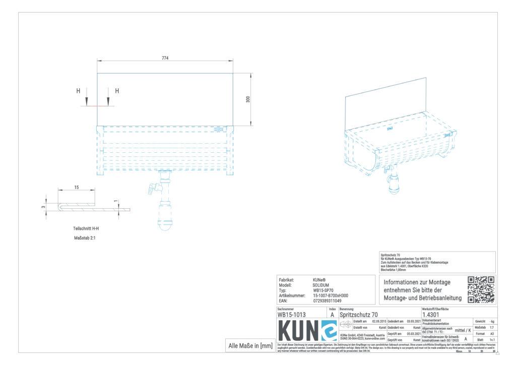 Eine detaillierte Maßzeichnung vom KUNe Spritzschutz 50 cm