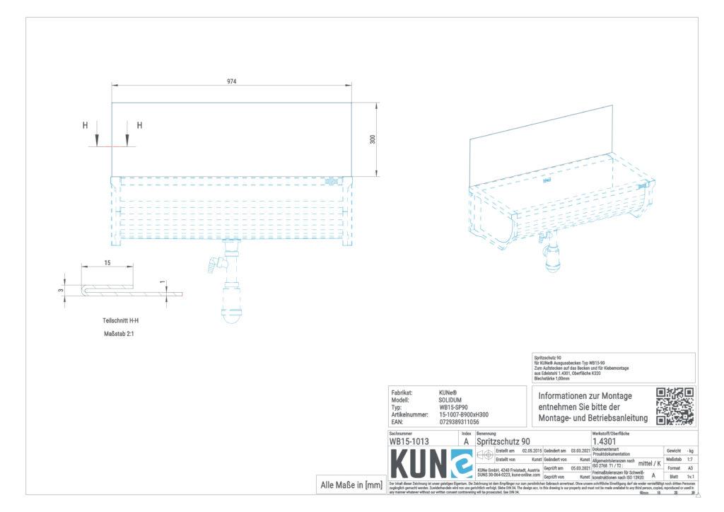 Eine detaillierte Maßzeichnung vom KUNe Spritzschutz 90 cm